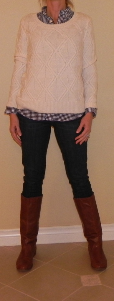 Sweater: Madewell, Blouse: Land's End, Jeans: Anthropolgie, Boots: Target