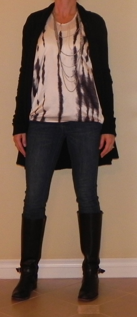 Jeans: Madewell, Top: CABi, Sweater: Kenzie, Boots: Frye