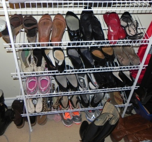 Shoes sit on shelves for easy organization.