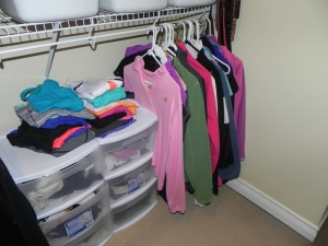To the right of these bins I have all my sweatshirts, hoodies, fleeces... casual stuff.