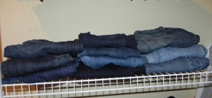 My jeans are folded on the shelf for easy access.