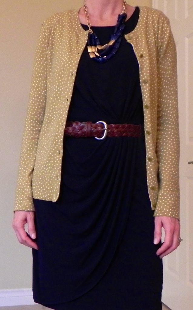 Dress: Marshalls, Cardigan: Target, Boots: DSW, Necklace: Stella and Dot