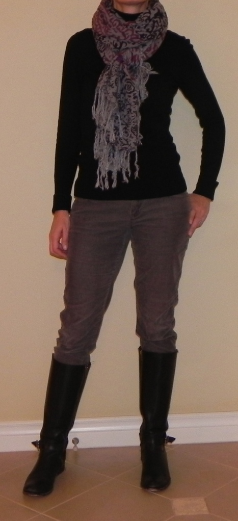 Turtleneck: White House, Black Market, Grey Jeans: Banana Republic, Scarf: Lucky, Boots: Frye