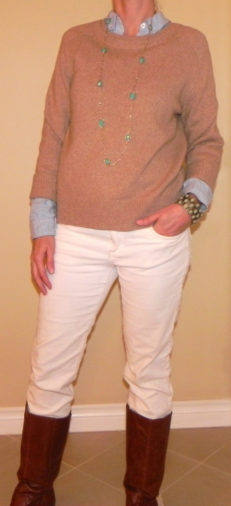 Cords: Nordstrom, Shirt: Target, Sweater: Land's End, Boots: Target