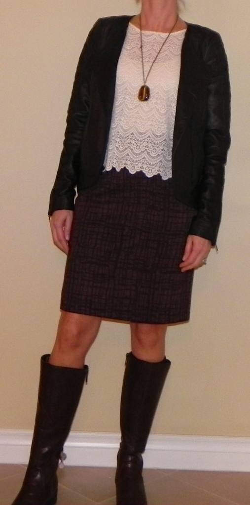 Skirt: Nordstrom, Top: Madewell, Jacket: Nordstrom, Boots: DSW