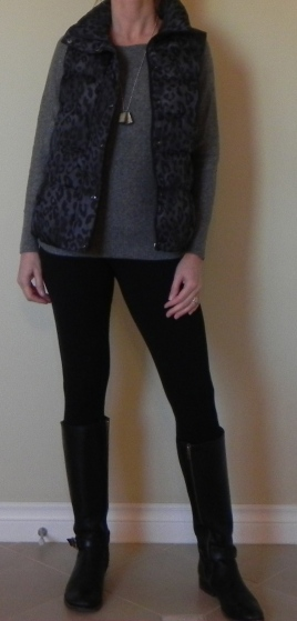 Leggings: Nordstrom, Sweater: Nordstrom, Boots: Frye, Vest: Old Navy