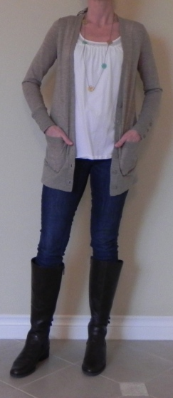 Tank- NY and CO, Cardigan: Nordstrom, Jeans: Madewell, Boots: DSW, Necklace: gift
