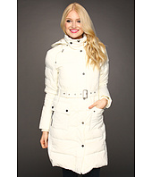 This is the same model as above, but doesn't she look a lot thinner in this belted coat?