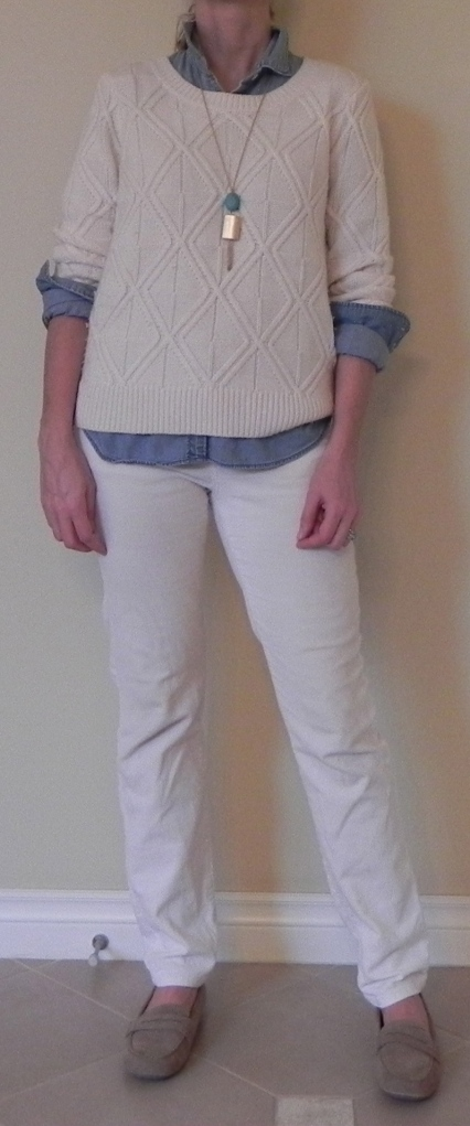 Pants: Nordstrom, Shirt: J Crew, Sweater: Madewell, Shoes: Target, Necklace: Gift