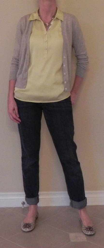 Blouse: Loft, Cardigan: Banana Republic, Jeans: CABi, Shoes: Tory Burch, Necklace: Anthropologie