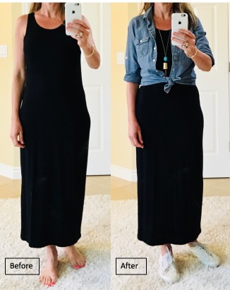 6f4216de4 Alone it might be a little boring, but by tying a J Crew denim shirt at the  waist, I have added interest and variety, not to mention made my legs look  a ...