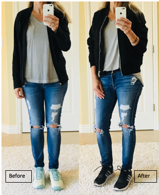 e3ee863b8 In the picture on the left, I am wearing an American Eagle grey v neck t  shirt with a zip up workout jacket from Lucy. This little jacket is perfect  for ...